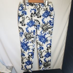 Premise black and white floral on white ankle pant